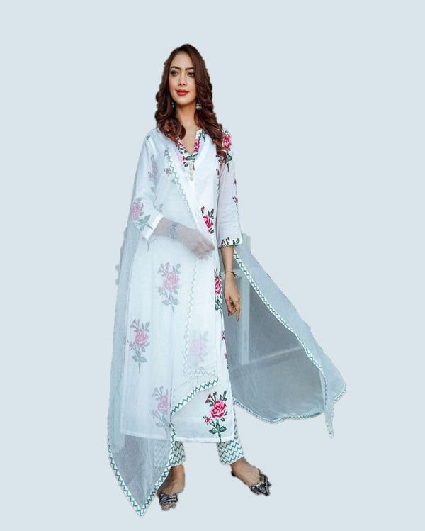 Rose flower print white kurti & pant with dupatta