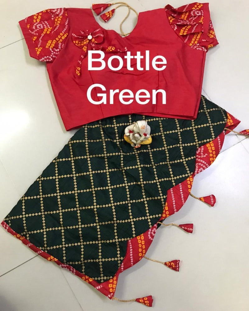 Bottle green  square dola with bandhej latkan saree
