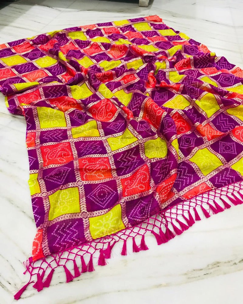 Purple with foil print kota saree