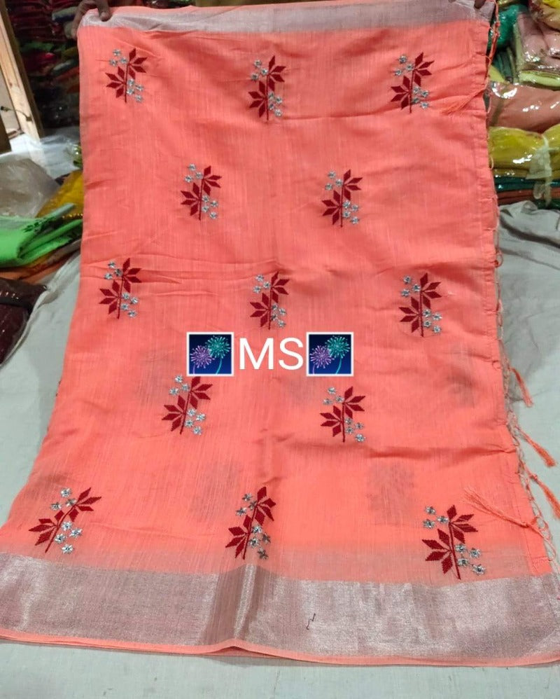 Small flower pink embroidery linen saree