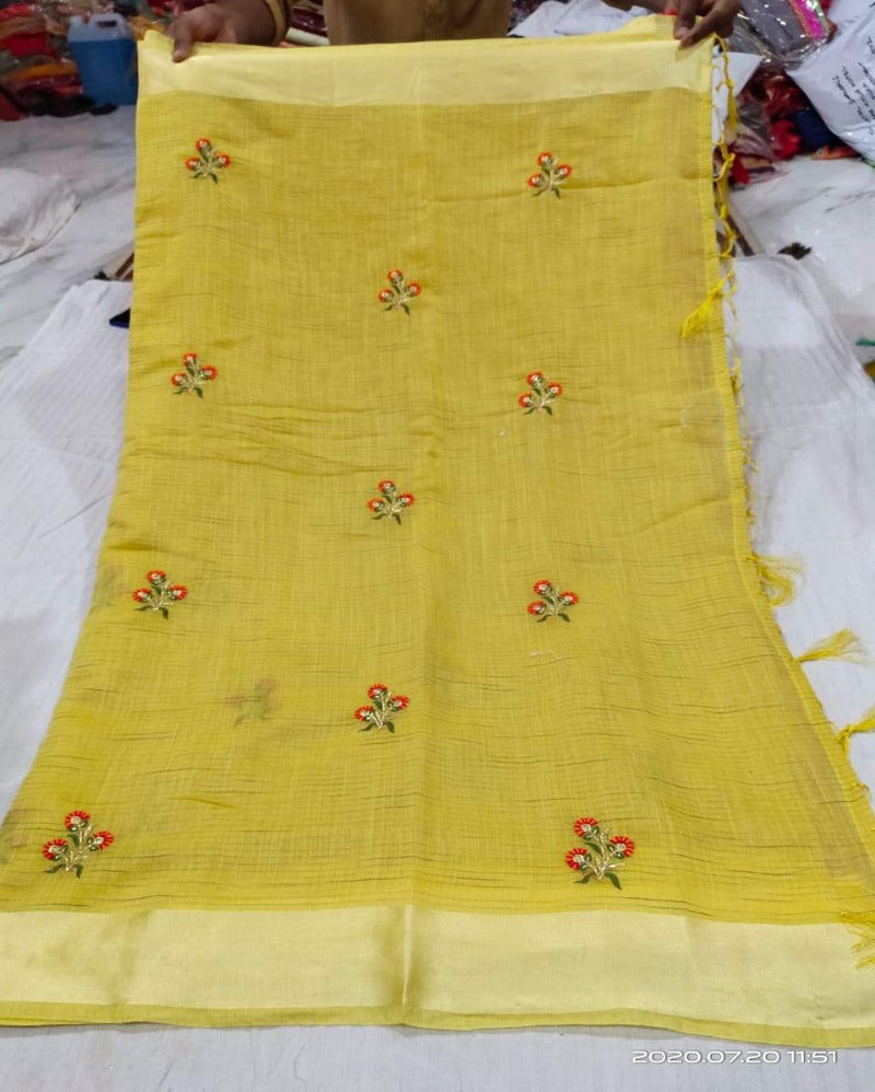Small flower yellow embroidery linen saree