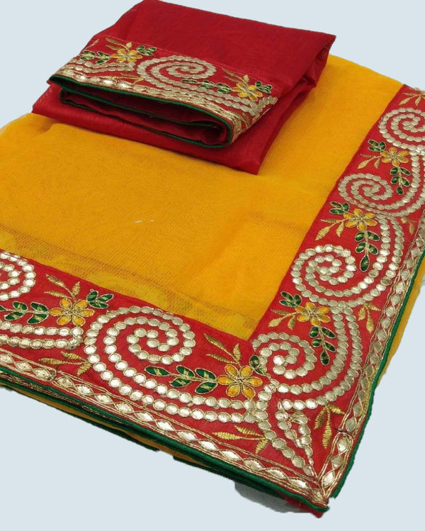 Yellow gottapatti border silk saree