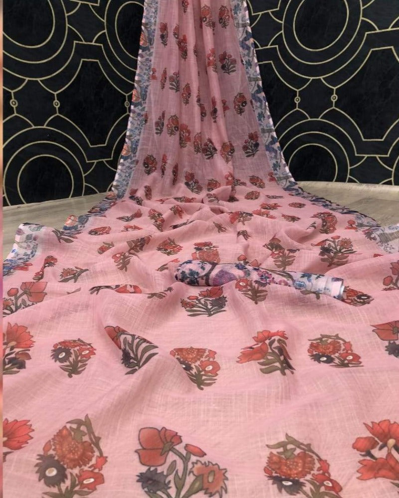 Pink flower combination linen saree