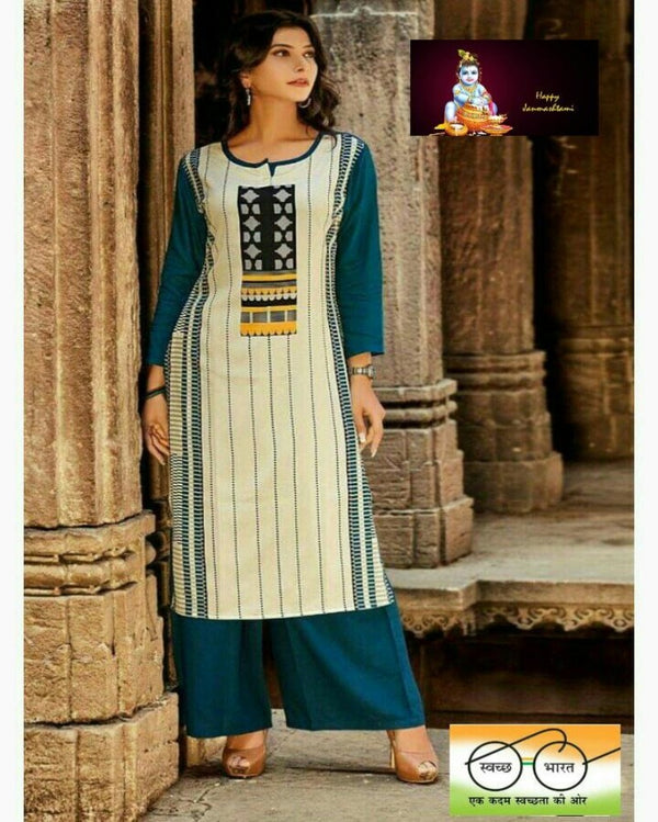 Crepe design bottle blue kurti & palazoo