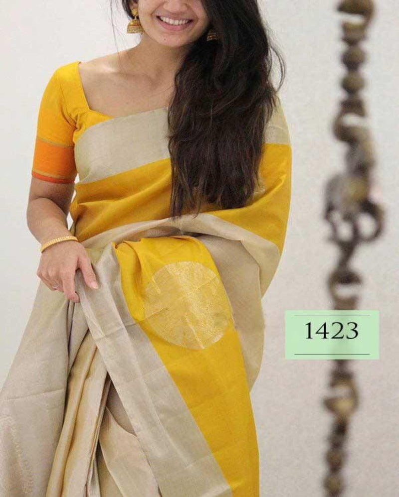 Satin zari border gold contrast soft saree