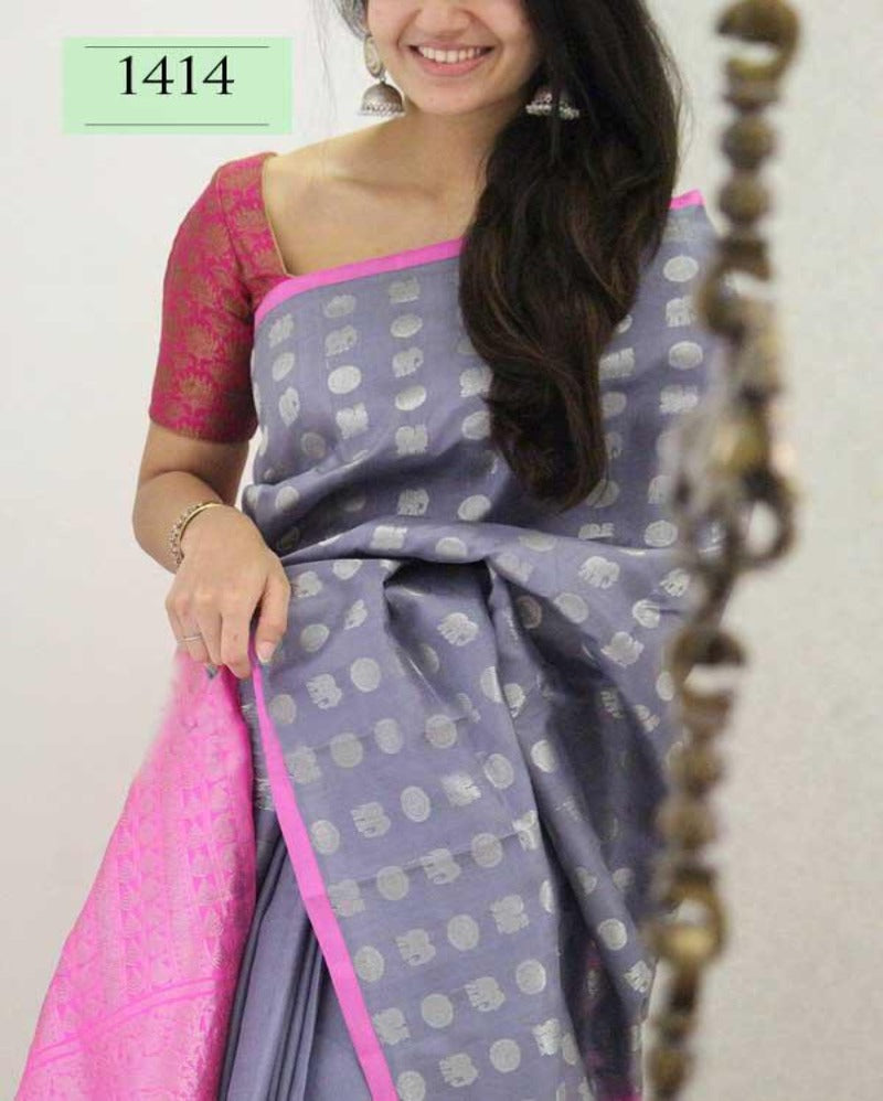 Satin zari border light purple soft saree