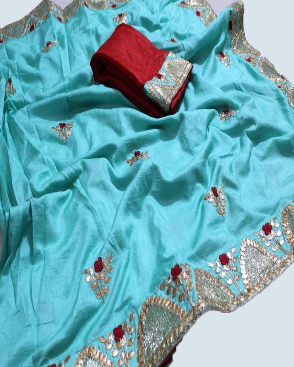 Sitara gotta heavy border blue saree