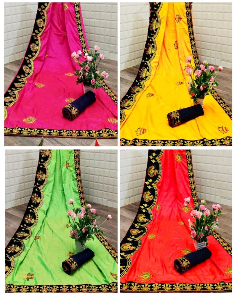 Yellow embroidery velvet border silk saree