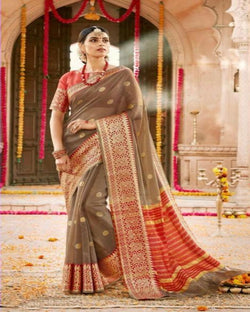 Rajasthani brown buti kota saree