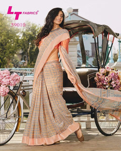 Peach lining border designer saree