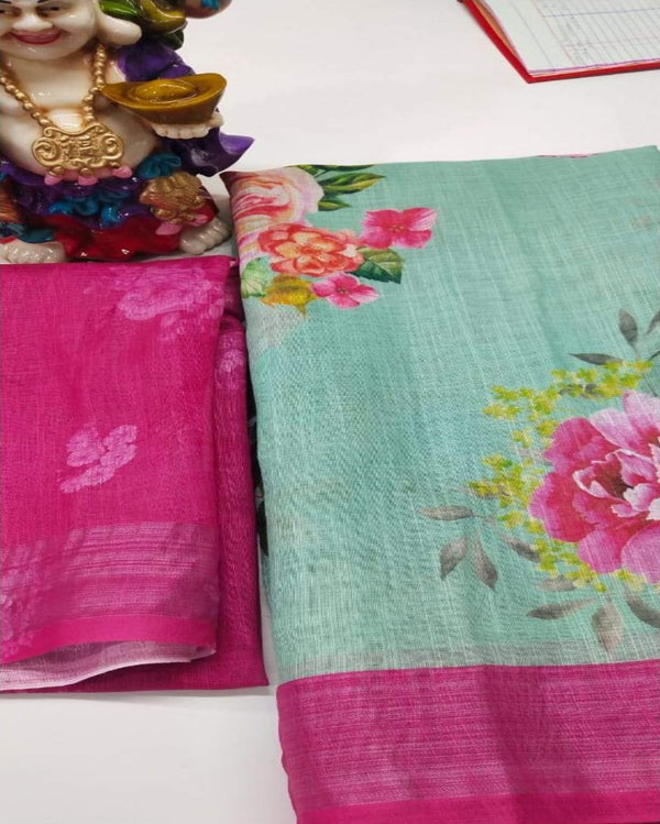 Ferozi flower leaf jari border saree