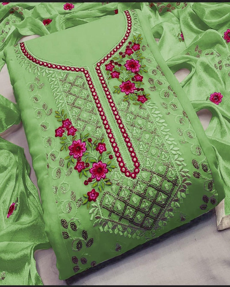 Green georgette sequence dressmaterial