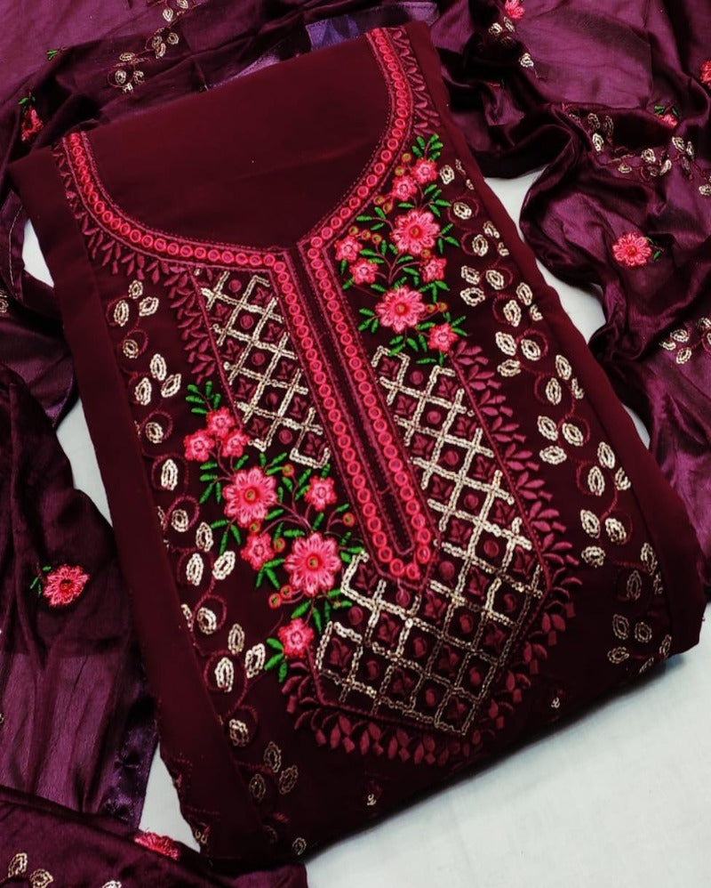 Maroon georgette sequence dressmaterial