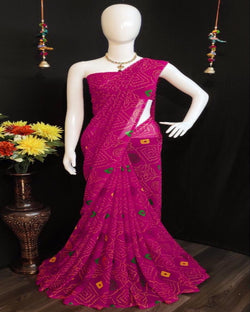 Pink soft bandhani pretty saree