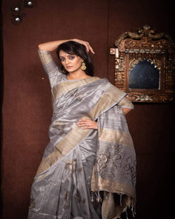 Grey butta soft silk saree