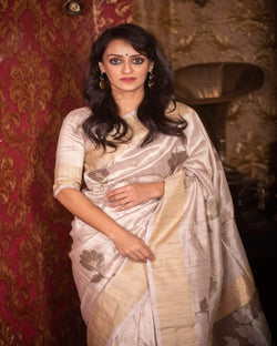Brown  butta soft silk saree