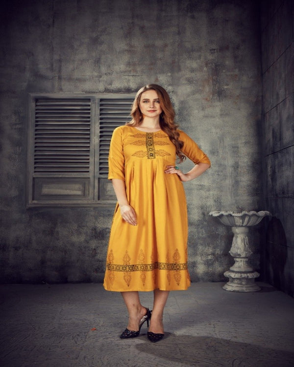 Yellow Handwork one piece
