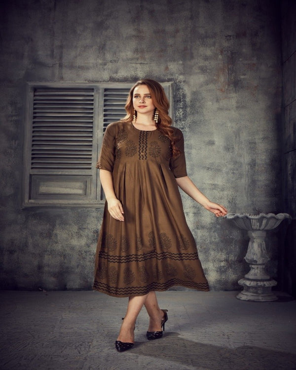 Brown Handwork one piece