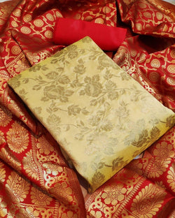 Gold Hot Banarasi silk dressmaterial