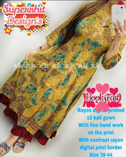 Yellow printed cotton full gown