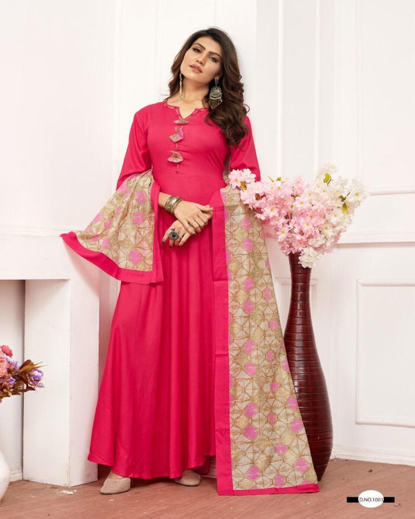Pink full rayon gown with scarf