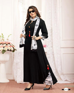 Black full rayon gown with scarf