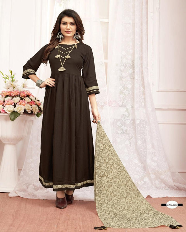 Bottle Brown full rayon gown with scarf