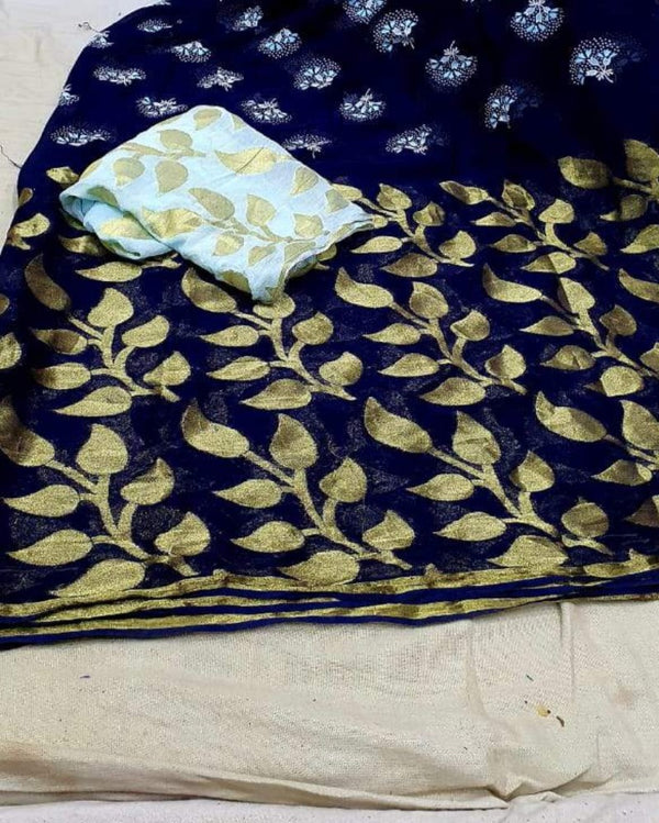 Navy Blue flower print georgette saree