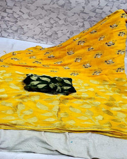 Yellow flower print georgette saree