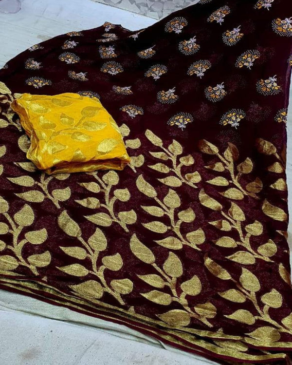 Coffee flower print georgette saree