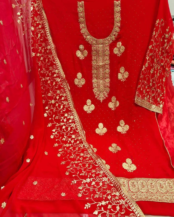 Diamond Embroidery Red Dressmaterial