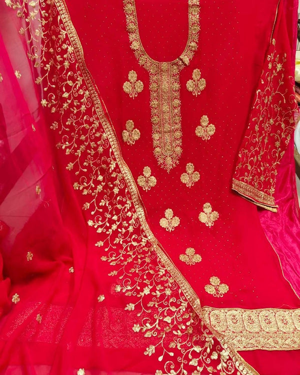 Diamond Embroidery Pink Dressmaterial