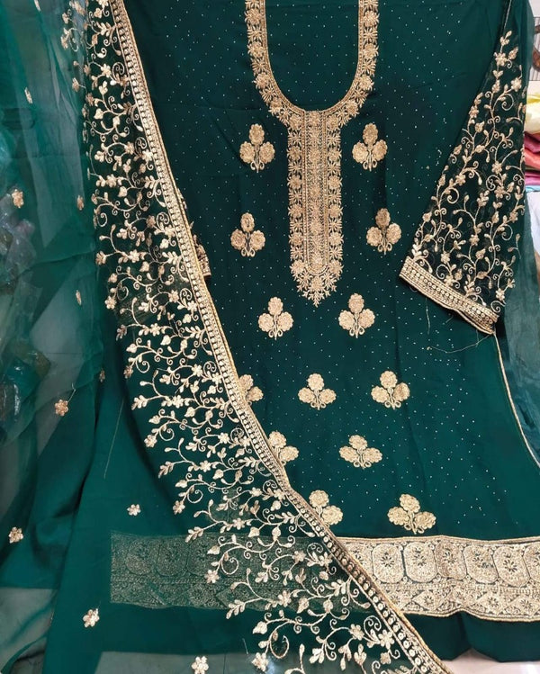 Diamond Embroidery Green Dressmaterial