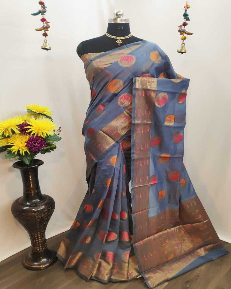 Circle Butta Grey Saree