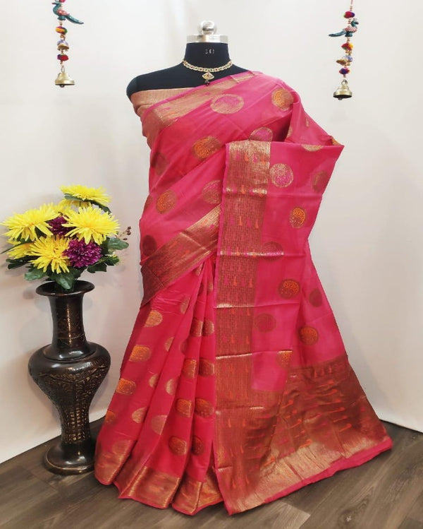 Circle Butta Gold Pink Saree
