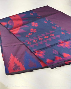 Purple print pooja special silk saree