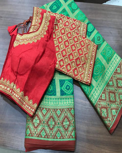 Embroidery Red contrast Blouse Green Saree