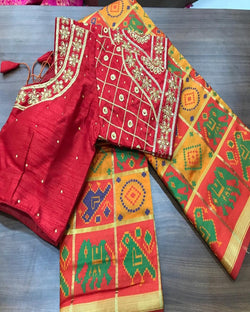 Embroidery Maroon contrast Blouse Multi Saree