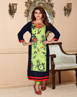 Navy Blue Digital Print Kurti