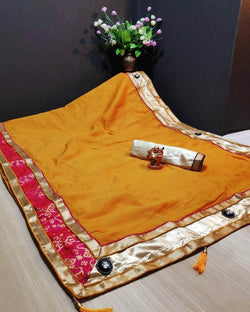 Yellow Borket Border Pallu Saree