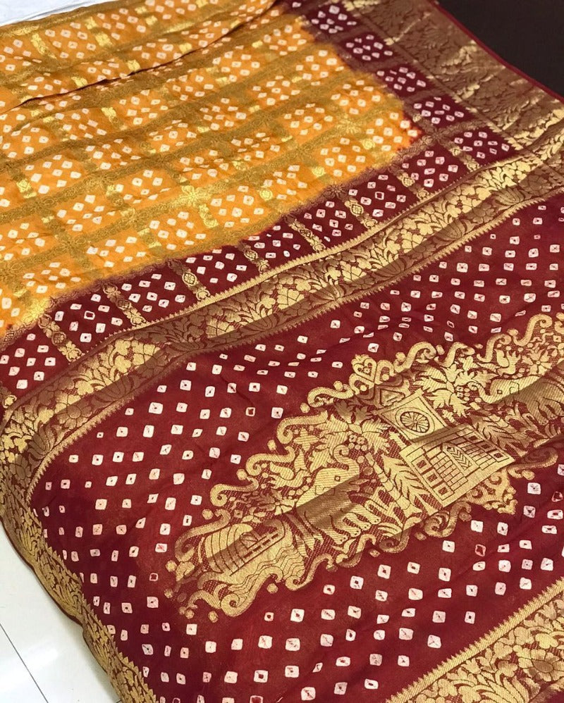 Maroon Contrast Zari Traditional Saree