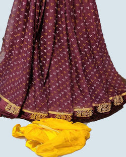 Brown zari patta chiffon saree