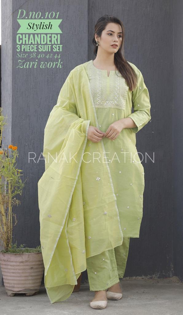Green Embroidery Zari Suitset