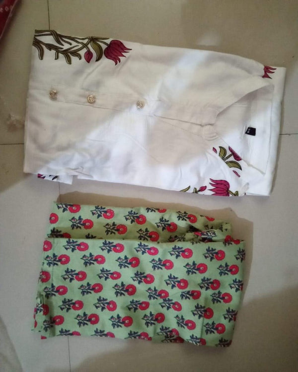 White Red Flower print Kurta Pant