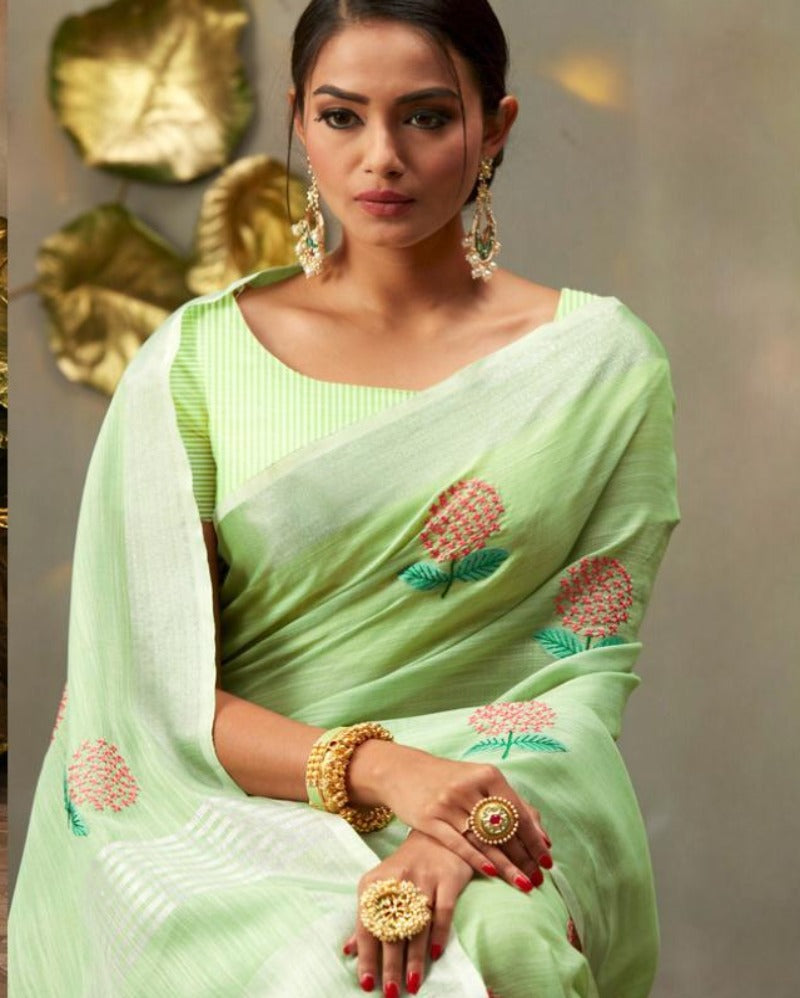 Green linen embroidered saree