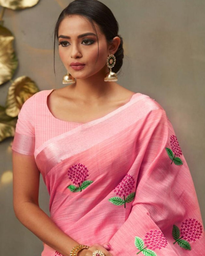 Pink linen embroidered saree