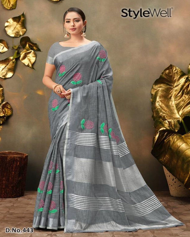Grey linen embroidered saree