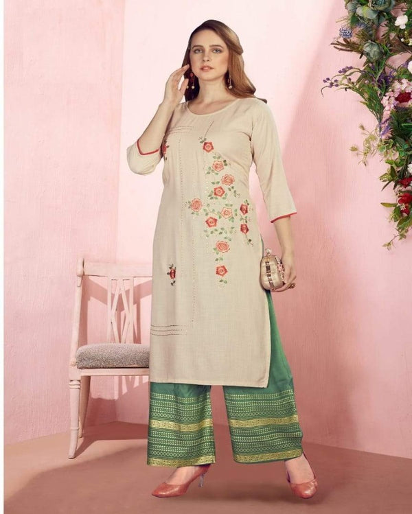 Sequence Foil Print Cream kurti palazoo