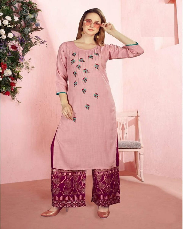 Onion Sequence Foil Print kurti palazoo
