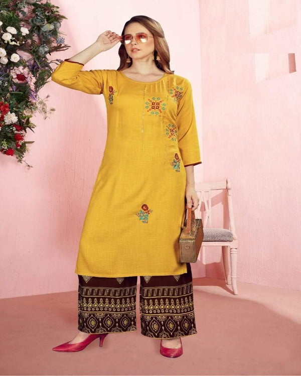 Yellow Sequence Foil Print kurti palazoo